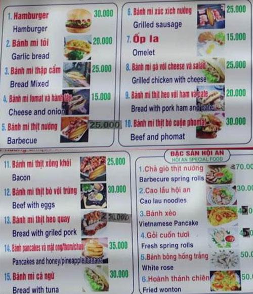 menu bánh mì phượng hội an